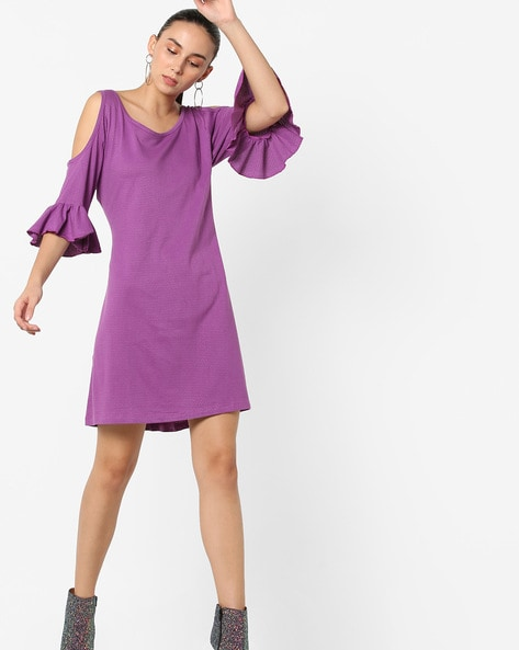 Woven Cold-Shoulder Shift Dress With Flared Sleeves By ANONYMOUS CO ( Purple )