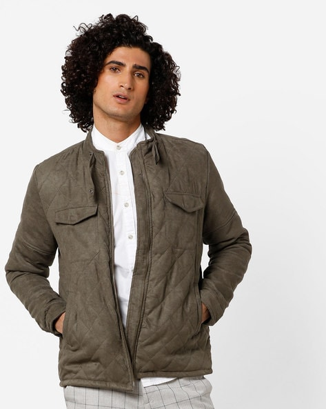 Quilted Suede Bomber Jacket By AJIO ( Olive )
