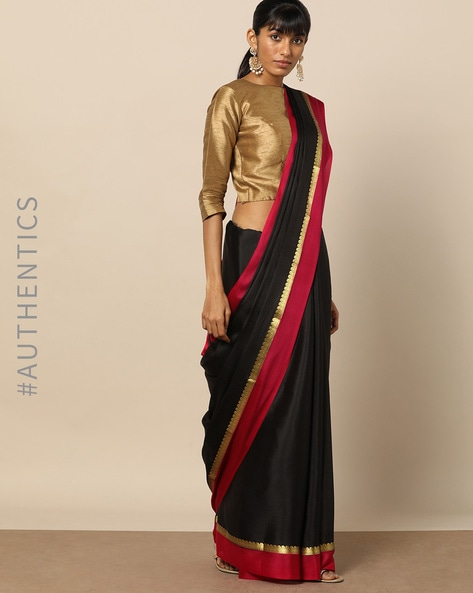 Pure Mysore Silk Crepe Saree With Zari Border By Rudrakaashe-MSU ( Black )