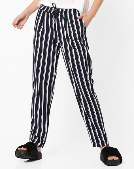 Striped Pants With Drawstring Fastening By Only ( Midnightblue )