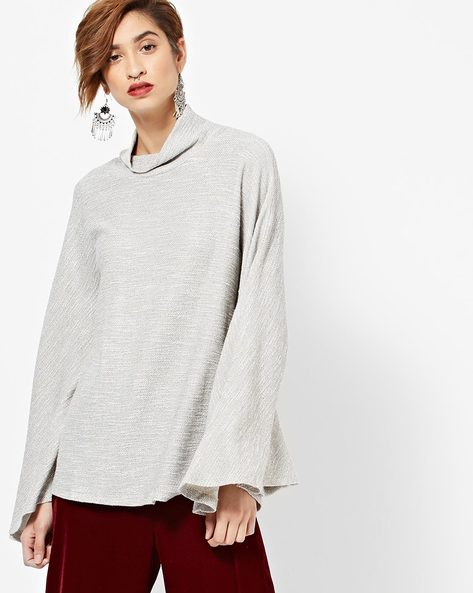 Textured High-Neck Top With Flared Sleeves By Femella ( Grey )
