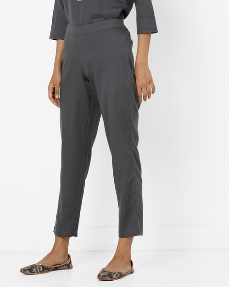 Ankle-Length Pants With Elasticated Waist By AJIO ( Grey )