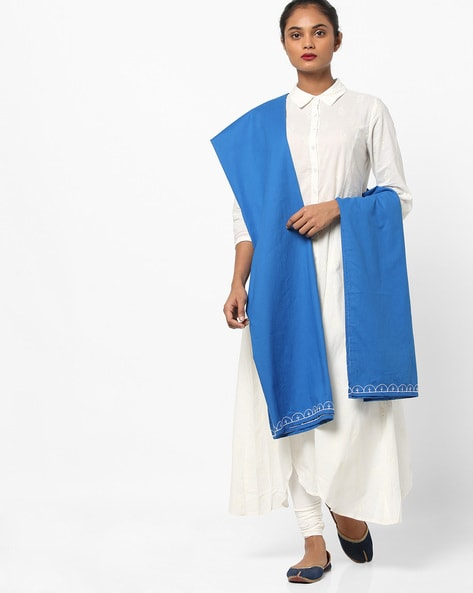Cotton Dupatta With Contrast Embroidery By AJIO ( Blue )