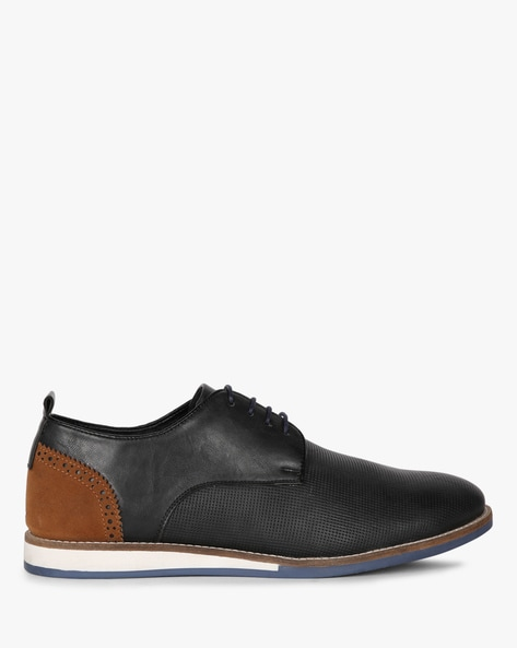 Textured Panelled  Lace-Up Shoes By AJIO ( Black )