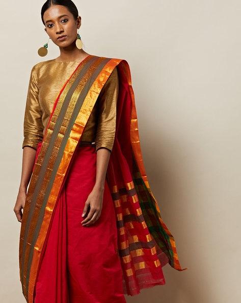 Iranna South Cotton Multi-Stripe Saree With Zari By Indie Picks ( Red )