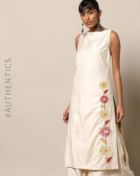 Pure Silk Viscose Straight Kurta With Floral Embroidery By Indie Picks By AJIO ( Ivory )