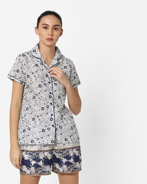 Floral Print Shirt With Printed Shorts By Clovia ( White )