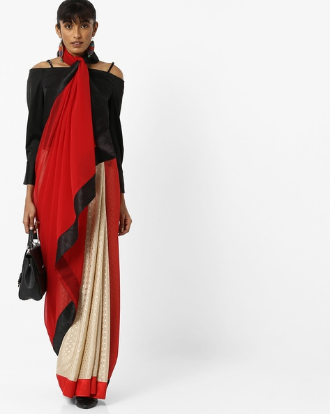 Chiffon Saree With Woven Designs By Vastrangi ( Red )
