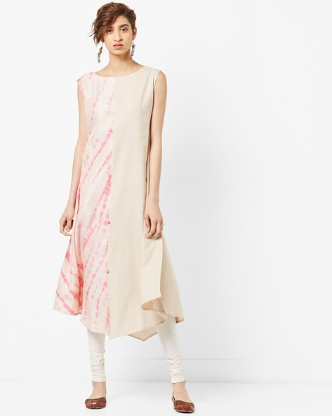 Panelled A-line Kurta With Asymmetric Hemline By SAKSH ( Pink )
