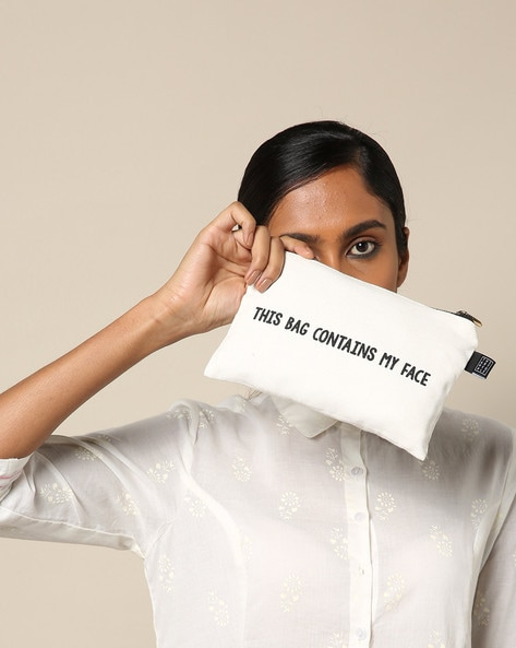 Typographic Print Multipurpose Canvas Utility Bag By The Art People ( White ) - 460215334001