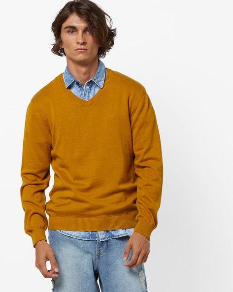 Slim Fit V-neck Pullover By JOHN PLAYERS ( Mustard )