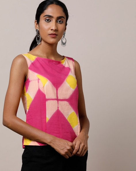 e04561d0564 Indie Picks Essentials Pink   Yellow Classic Hand Tie   Dye Cotton  Sleeveless Top