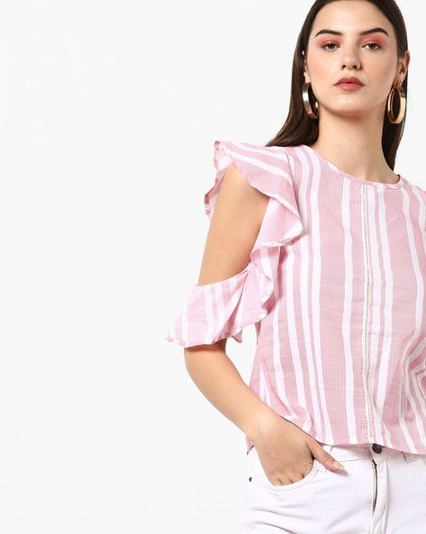 58a317d2b11 AJIO Light Pink Regular Striped Top with Ruffled Cold-Shoulder Sleeves