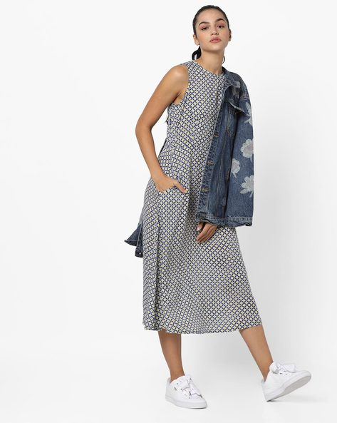 Printed Sleeveless A-line Midi Dress By And ( Blue )