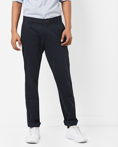 Slim Fit Flat-Front Chinos By British Club ( Navyblue )