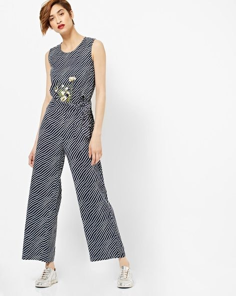 Placement Embroidered Sleeveless Striped Jumpsuit By AJIO ( Indigo )