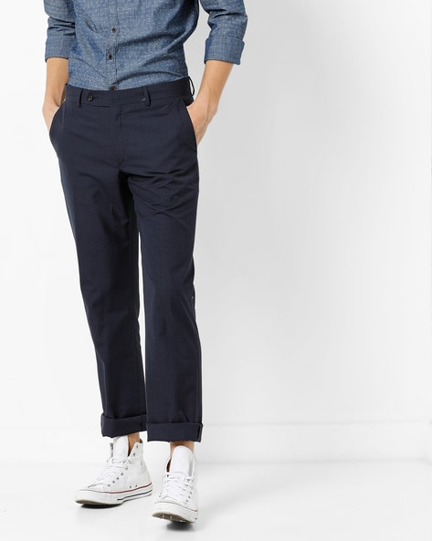 Mid-Rise Flat-Front Trousers By Wills Lifestyle ( Indigo )