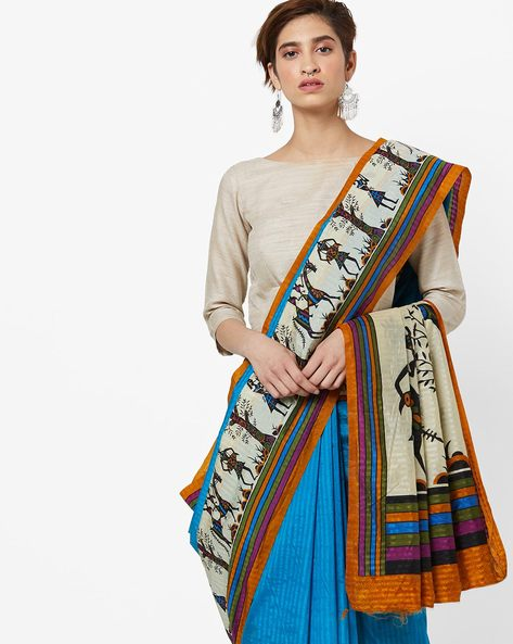 Printed Art Silk Saree With Contrast Border By Amori ( Blue )