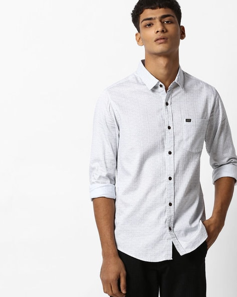 Printed Slim Fit Shirt With Patch Pocket By The Indian Garage Co ( Black )