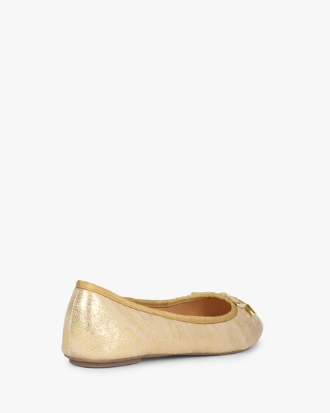 Shimmery Ballerinas With Bow Accent By Carlton London ( Gold )