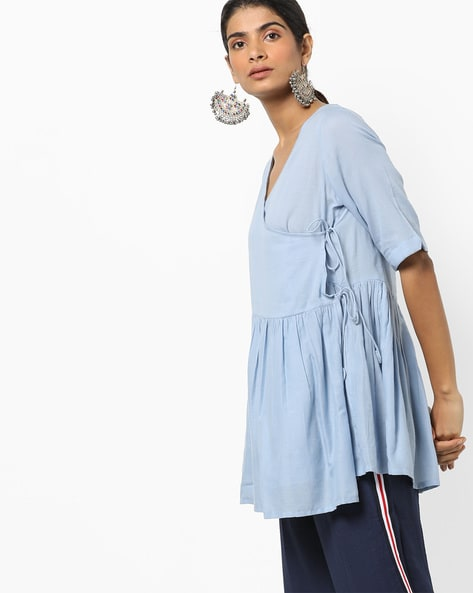 Angrakha Tunic With Tie-Up By Project Eve IW Casual ( Blue )