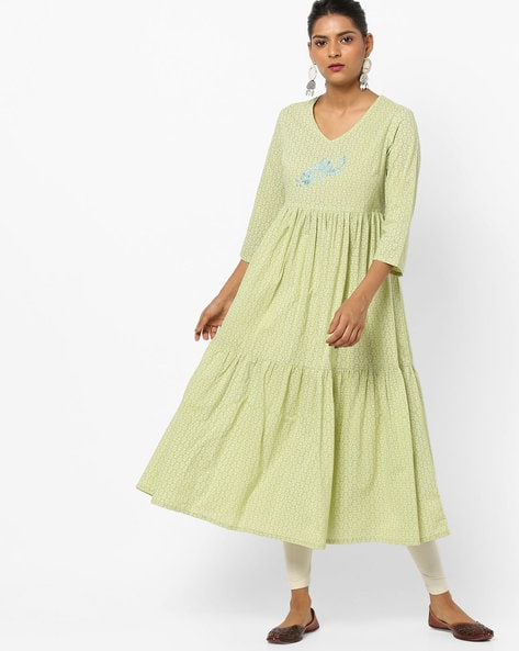 Printed Tiered Flared Kurta By AJIO ( Green )