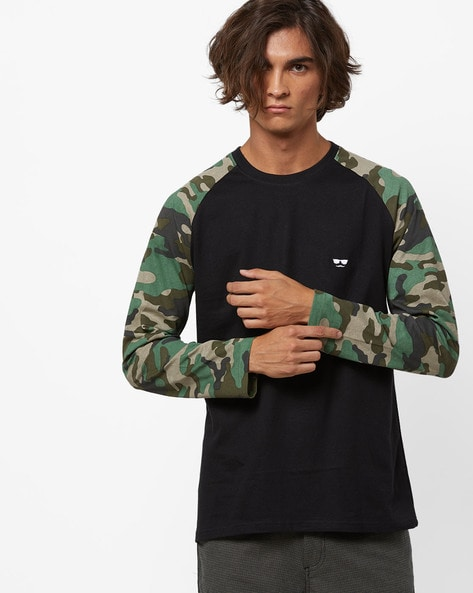 Crew-Neck T-shirt With Camouflage Print Raglan Sleeves By Garcon ( Black ) - 460276294004
