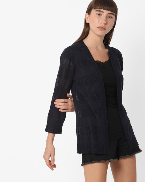 Open-Front Shrug With Patterned Knit By FIG ( Navy )