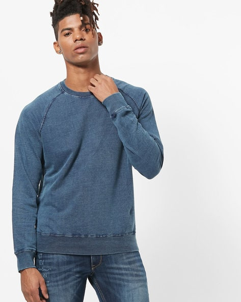 Washed Slim Fit Crew-Neck Sweatshirt By JOHN PLAYERS ( Blue )