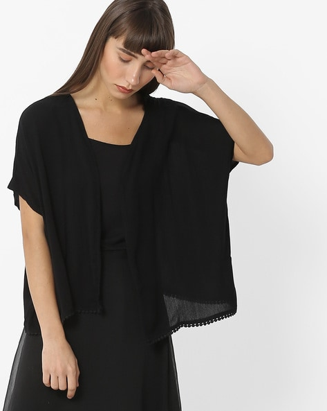 Knitted Shrug With Batwing Sleeves By RIO ( Black )