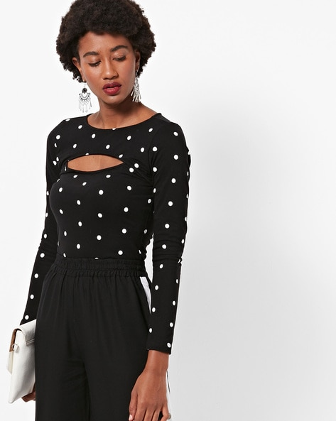 Polka-Dot Print Round-Neck Top By FABALLEY ( Black )