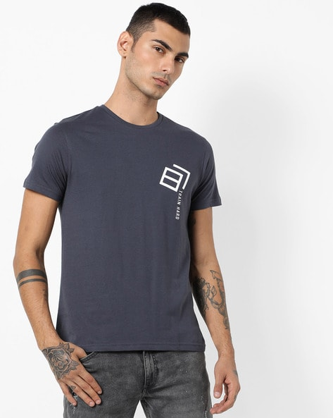 Crew-Neck T-shirt With Placement Print By AJIO ( Grey )