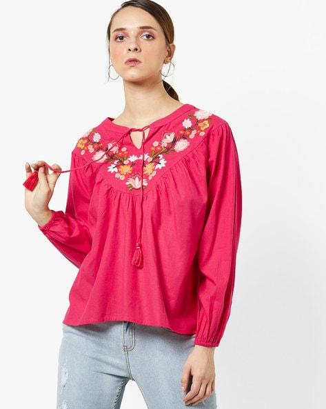 Peasant Blouse With Floral-Embroidered Yoke By AJIO ( Magenta )