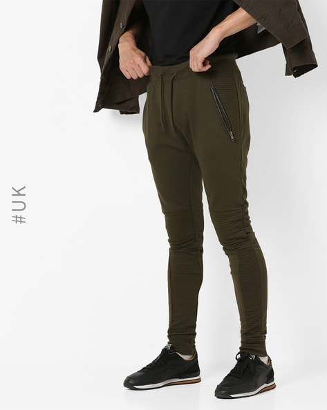 Panelled Joggers With Drawstring Fastening By SOULSTAR ( Olive )