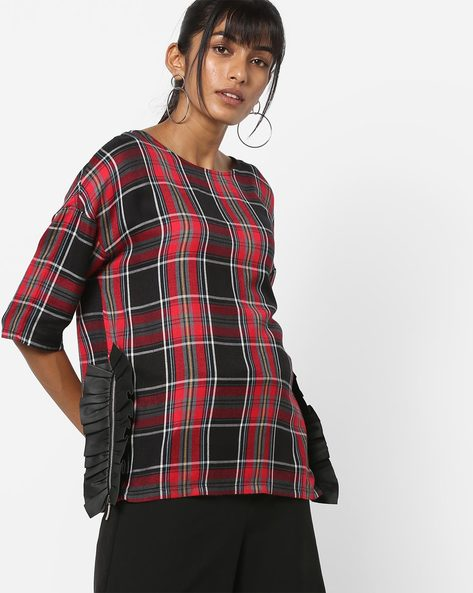 Checked Top With Ruffled Side Panels By AJIO ( Red )