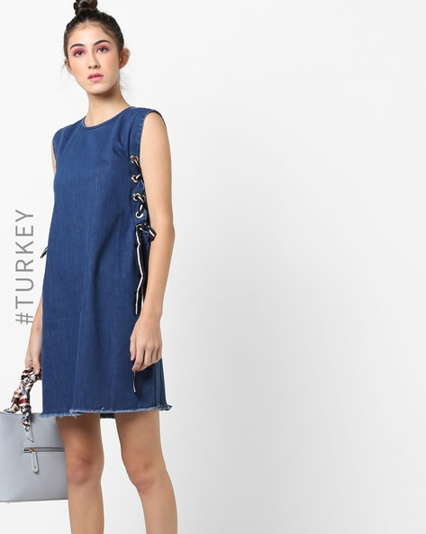 Sleeveless Shift Dress With Side Tie-Ups By TRENDYOL ( Blue )