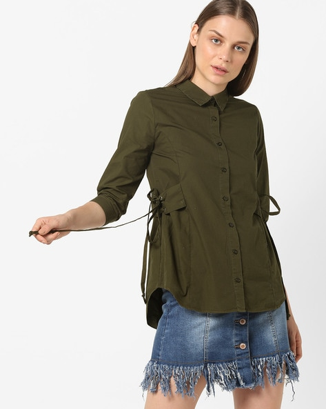 Shirt With Side Tie-Ups By Oxolloxo ( Khaki )