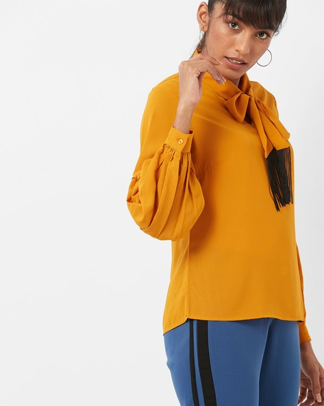 Top With Neck Tie-Up & Balloon Sleeves By CODE By Lifestyle ( Yellow )