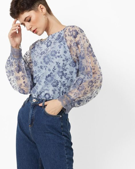 Sheer Raglan-Sleeve Top With Floral Embroidery By AJIO ( Navy )