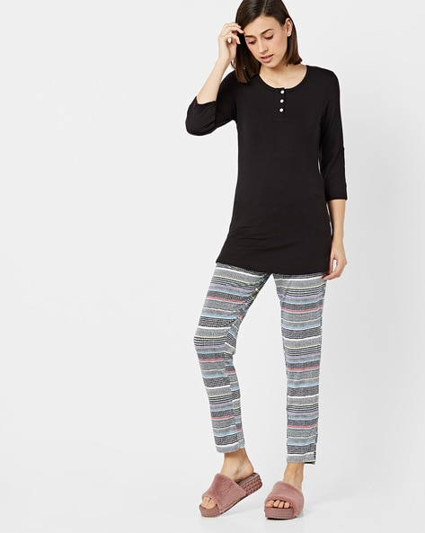 Henley T-shirt With Striped Pyjama Lounge Set By Sweet Dreams ( Black )