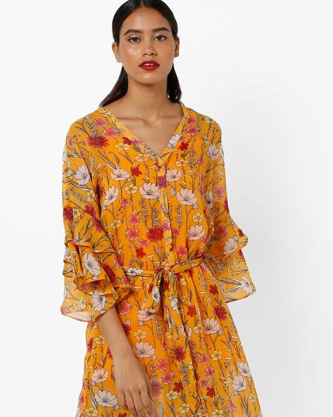 Floral Print Dress With Fabric Belt By AJIO ( Yellow )