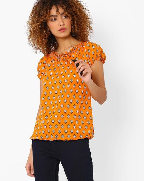 Printed Blouson Top With Tie-Up Detail By FUSION ( Mustard )