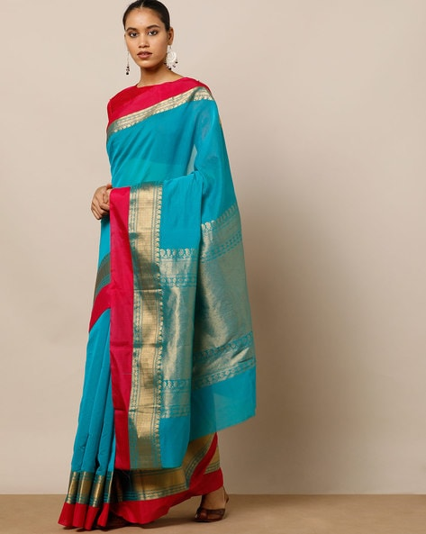 Art Silk & Mercerised Cotton Saree With Brocade Pallu By Indie Picks ( Turquoise )