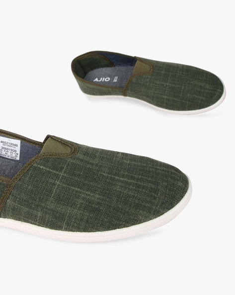 Textured Low-Top Slip-On Shoes By AJIO ( Olive )