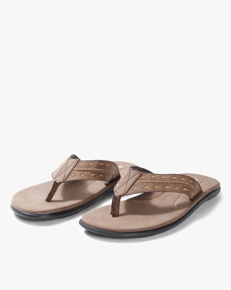 f17976ab9c0 AJIO Light Brown Thong strap Thong-Strap Flip-Flops with Contrast Stitch