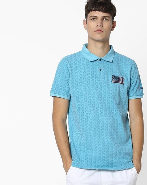 Printed Polo T-shirt By Teamspirit ( Teal )