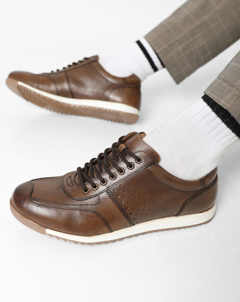 Genuine Leather Panelled Lace-Up Shoes By Hats Off Accessories ( Brown )