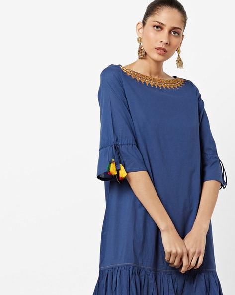 Drop-Waist A-line Dress With Embroidered Neckline By AJIO ( Blue )