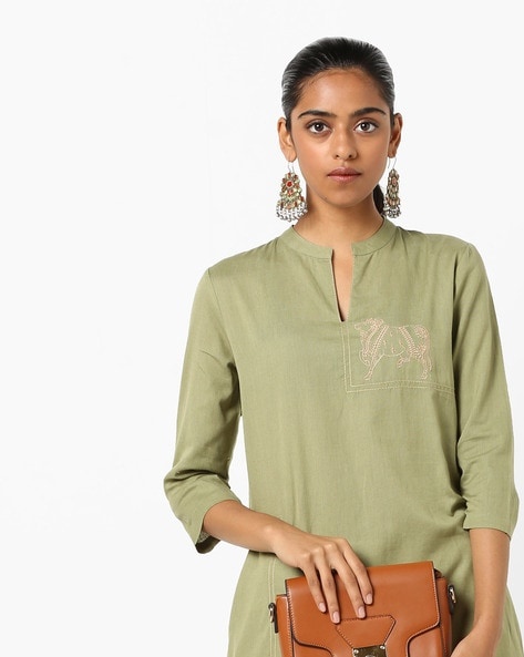 Straight Kurta With Embroidery By AJIO ( Olive )