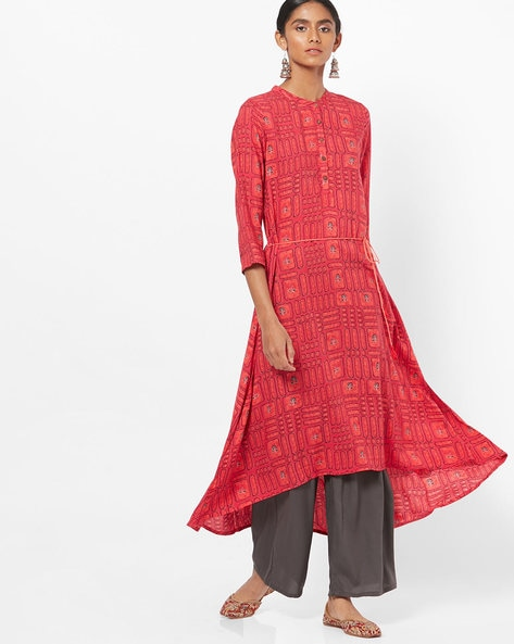 Printed High-Low Flared Kurta With Waist Tie-Up By Global Desi ( Red )